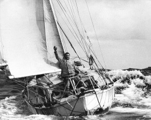 Historic. Circa 1969: Robin Knox-Johnston, the first man to sail solo non-stop around the World, aboard his 32ft 5in yacht SUHAILI. Pictured here returning to Falmouth, England on 22nd April 1969, to completethe 30,123 mile voyage in 313 days - an averag